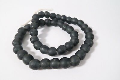 Recycling Glasperlen 13mm anthrazit Krobo Ghana Powder Glass Beads Altglas