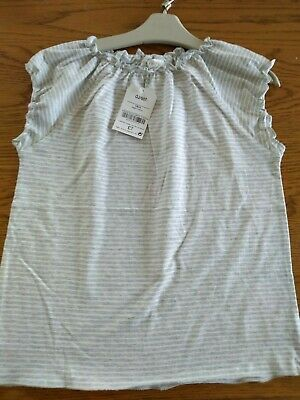 BNWT girls NEXT grey & white striped top. Age 10 years.         3/2