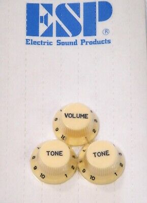 Stratocaster Strat set of volume and tone control knobs for Electric Guitar