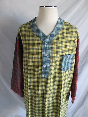 Charles Goodnight vintage plaid flannel pajamas nightshirt shirt one size