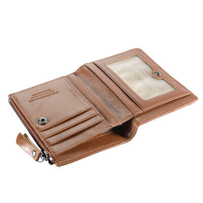 Fashion Men's Wallet First Layer Cowhide Leather License Window Brown/Red