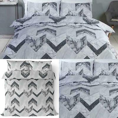 Grey Duvet Covers Marble Effect Palazzo Tile Modern Quilt Cover Bedding Sets