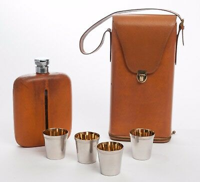 Vintage Leather Cased Spirit Flask with Four Silver & Gilt Plated Whisky Cups