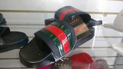 c1f01ff4c MEN S GUCCI FLIP Flops Sandals Black US Size 9.5 Made In Italy AS IS ...