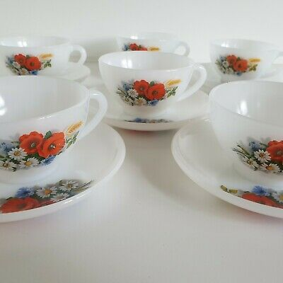 8 Vintage Arcopal France Milk Glass Tea Cups with Saucers Multi Colored Flowers