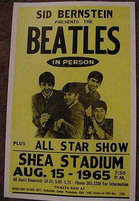 THE BEATLES 1965 SHEA STADIUM 60's CONCERT POSTER art NEW YORK JOHN LENNON RINGO