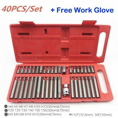 40Pcs Torx Hex Star Spline Socket Bit Drive Set Garage Tools For Car Auto Repair