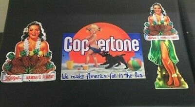 This Auction Is For 3 Metal Signs Beach Advertising Hawaii Coppertone Pineapple