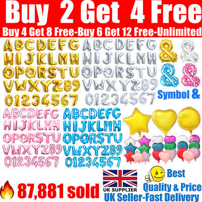 Alphabet A-Z Letter Number Star Heart Round Foil Balloons For Name Party Wedding