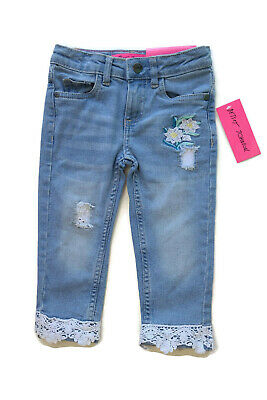 Betsey Johnson Denim Blue Jeans Embroidered Flowers Lace Hems Girls 2T