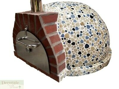 PIZZA OVEN OUTDOOR *BLUE* MOSAIC TILE BRICK WOOD COAL FIRED BBQ Grill Stone New