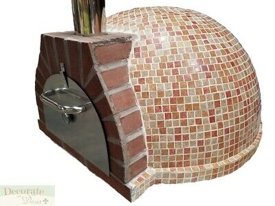 PIZZA OVEN OUTDOOR *RED* MOSAIC TILE BRICK WOOD COAL FIRED BBQ Grill Stone New