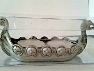 Norway Viking Ship Pewter Double Tea Light Candle Holder, NEW