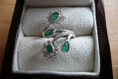 925 STERLING SILVER LAB GREEN EMERALD CROSSOVER FLOWER RING Sz O US 7.5