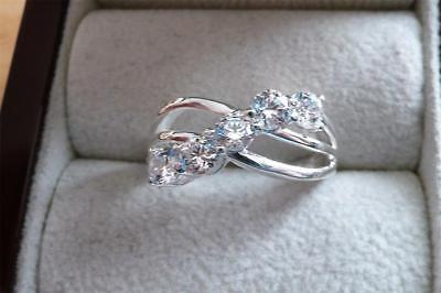 Made With Swarovski Zirconia 925 Sterling Silver Crossover Band Ring Sz P Us 8