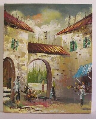 Vintage Modern Abstract Cityscape Oil Painting Signed STANLEY