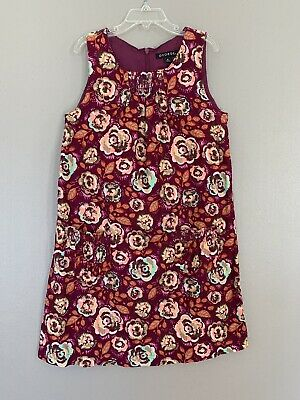 c4895710647d George Girls Dress Size 8 Sleeveless Floral Multicolored Front Pockets Red  Plum