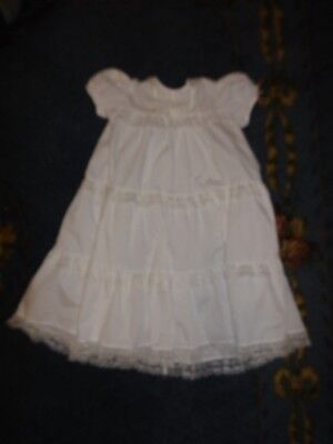 Vintage Alexis White Poly/ Cotton Christening Gown Size 6 months