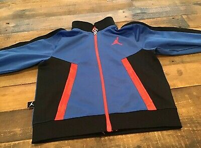 Boy's Michael Jordan Zip Up Track Jacket Blue Black With Red Trim Size 4T