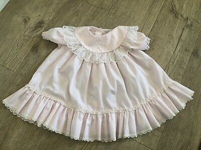 Vtg Baby Girls Dress 18 M Bryan Pink Lace Ruffle Frilly Party Ribbon