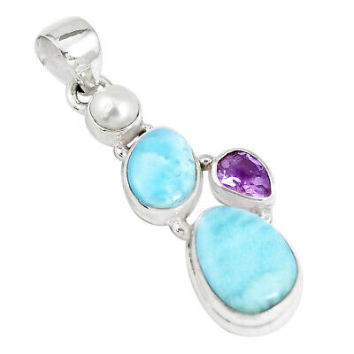 12.06cts Natural Blue Larimar Amethyst Pearl 925 Sterling Silver Pendant P7743