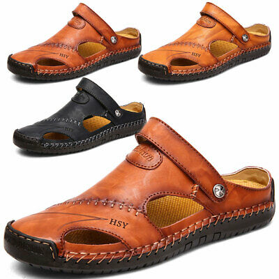 Mens Hand Stitching Outdoor Closed Toe Leather Sandals Casual Round Toe Slippers