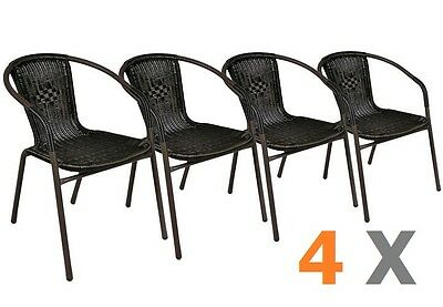 4 X CHAISES Bistro poly rotin empilable MOKA - EUR 186,79 ...