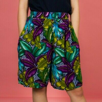 Vintage green purple blue hawaiian print culotte shorts Michele Leslie
