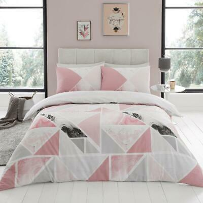 Duvet Cover /& Pillowcase Set Orion Pink//Silver Grey Contemporary Geometric
