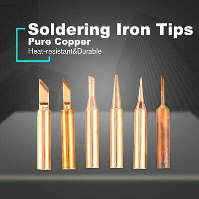 5PCS Soldering Iron Tip Pure Copper Replacement Rework Station Tool Lead-free