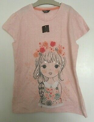 Girls Pretty Pink Summer T-Shirt Bnwt 12-13 Years George With Pretty Detail