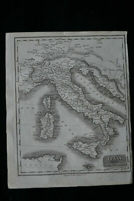 Italy With The Alpine Country Antique Map Copper Engraving 1817