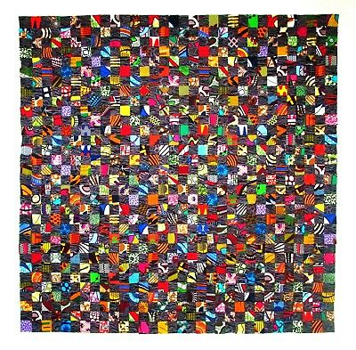 """UNFINISHED African Prints Stamp Quilt Top Baby Lap Wall Hanging Cotton 42"""" x 42"""""""