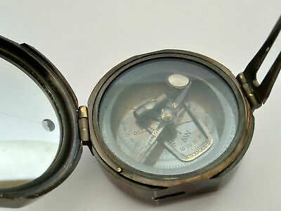 Antique Brass Brunton Compass 3 inch Nautical Maritime Kelvin Huges London 1917.