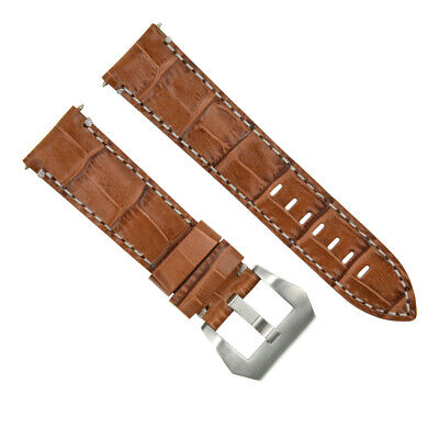 24Mm Pam Leather Watch Band Strap For 44Mm Panerai Luminor Marina Light Brown Ws