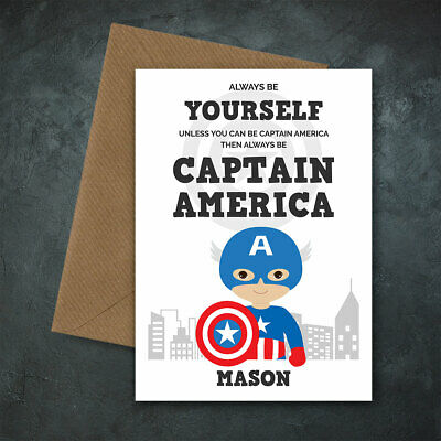 1926e525b Personalised Captain America Card for Birthday / Fathers Day - Boy Dad  Uncle Kid