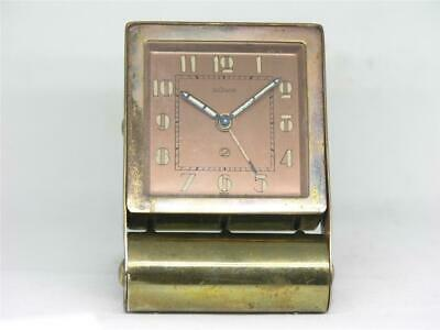 Antique Art Deco 80Mm Lecoultre Copper & Brass Travel Clock - Running Strongly!