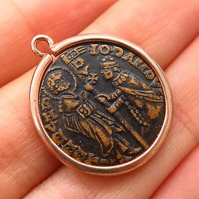 925 Sterling Rose Gold Plated Ancient Foscari Ducat Coin Design Charm Pendant