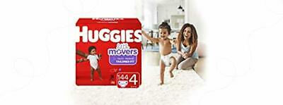HUGGIES Little Movers Diapers, Size 4 (22-37 lb.), 144 Ct, Economy Plus Pack (Pa
