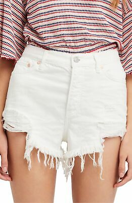4e979c4379 Free People NEW White Women's Size 31 High-Rise Ripped Denim Shorts $68 #235