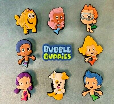 9 x BUBBLE GUPPIES Jibbitz Shoe Charm made for Crocs & Wristbands,