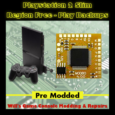 Playstation 2 PS2 Slim Console - Region Free - Play Imports - Modded