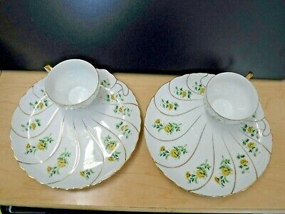 Vintage 2 Yellow Floral w/Gold Trim Snack Luncheon Plates & Cups~Made in Japan