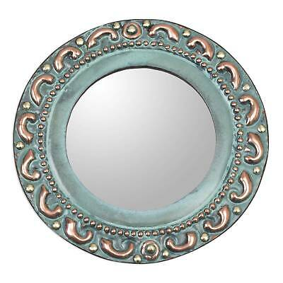 Small Copper and Bronze Wall Mirror 'Colonial Waves' Handcrafted Art NOVICA Peru
