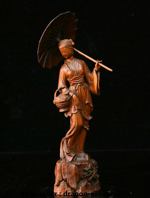"10"" Old Chinese Boxwood Wood Hand-Carved Belle Woman Hold Basket Fan Sculpture"