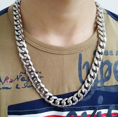 """Top 316L Stainless Steel Heavy Link Curb Cuban Chain Men Necklace 8""""-40"""" 13mm"""