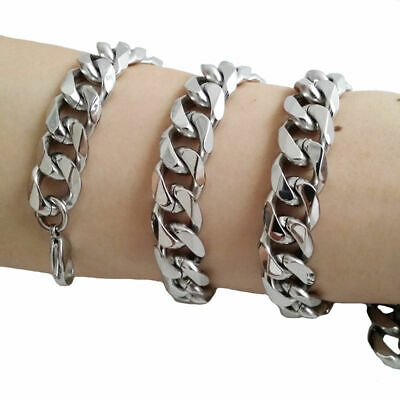 """15mm chunky 316L Stainless Steel Heavy Link Curb Cuban Chain Men Necklace 8""""-40"""""""