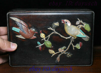 Old China Rosewood Wood Inlay Jade ShouShan Stone Flower Bird casket Jewelry Box