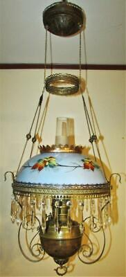Antique B&H Hanging Kerosene Oil Lamp Ornate Brass Hand Painted Opal Glass Shade