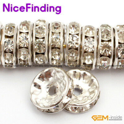 Fashion Clear Rhinestones Czech Crystal Silver Plated Spacer Beads 100 Pcs10mm